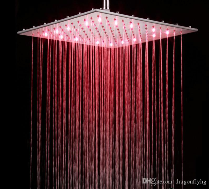 2018 16 Inch Chrome Led Rain Shower Head Rgb Changing Temperature ...