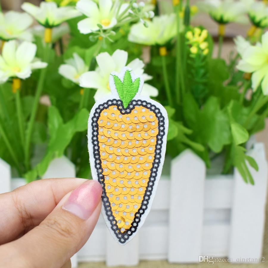 10 STÜCKE Pailletten Rettich Stickerei Patches für Kleidung Taschen Eisen auf Transfer Applique Pailletten Patch für Jeans DIY Nähen auf Pailletten