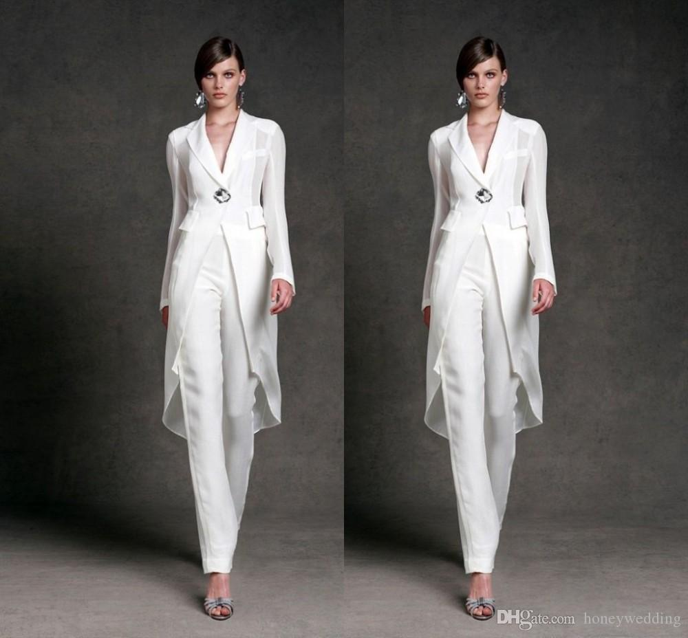 fe31b39d7db4d Plus Size Mother Of The Bride Pant Suits With Jackets White Party Clothes  Elegant Long Sleeve Groom Mothers Formal Evening Pants Suit Custom Formal  Dresses ...