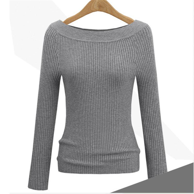 Autumn Winter Sweaters Woman Knitted Luxury Slim Pullover Sweater Tops With Long Sleeve Slash Neck Casual Women Cashmere Sweaters Clothing