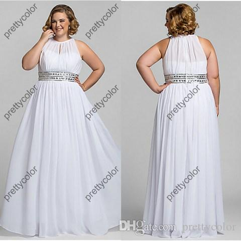 2014 Women Long Dress Plus Size Evening Gown White Chiffon Prom ...