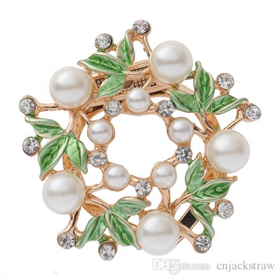 Silk scarf two, exquisite, simple, water drill, pearl clothing, brooch, scarf, Yiwu manufacturers.