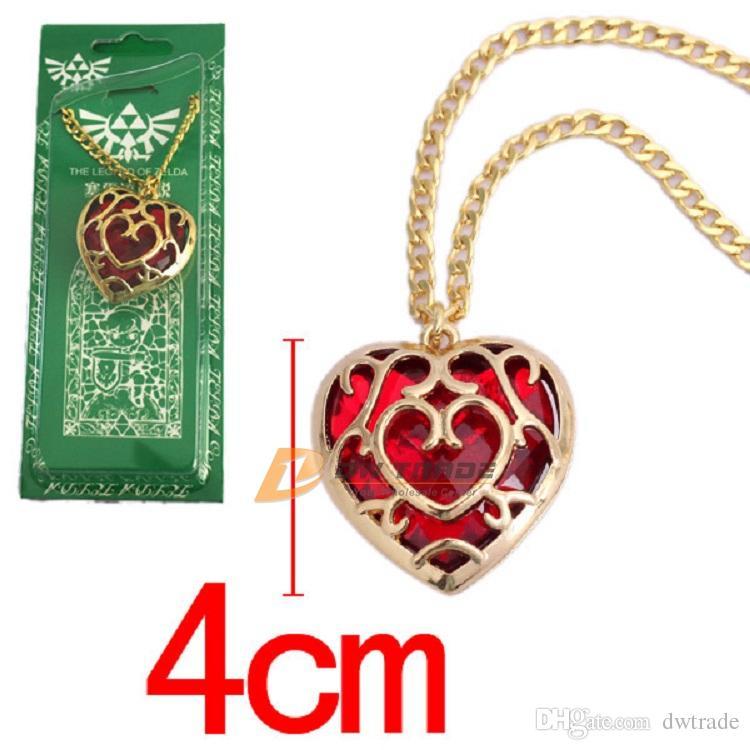 DHL 2 farben Die Legende von Zelda herz kristall anhänger halskette und schlüsselanhänger rot Blau liebe form schlüsselanhänger halskette J010801 #