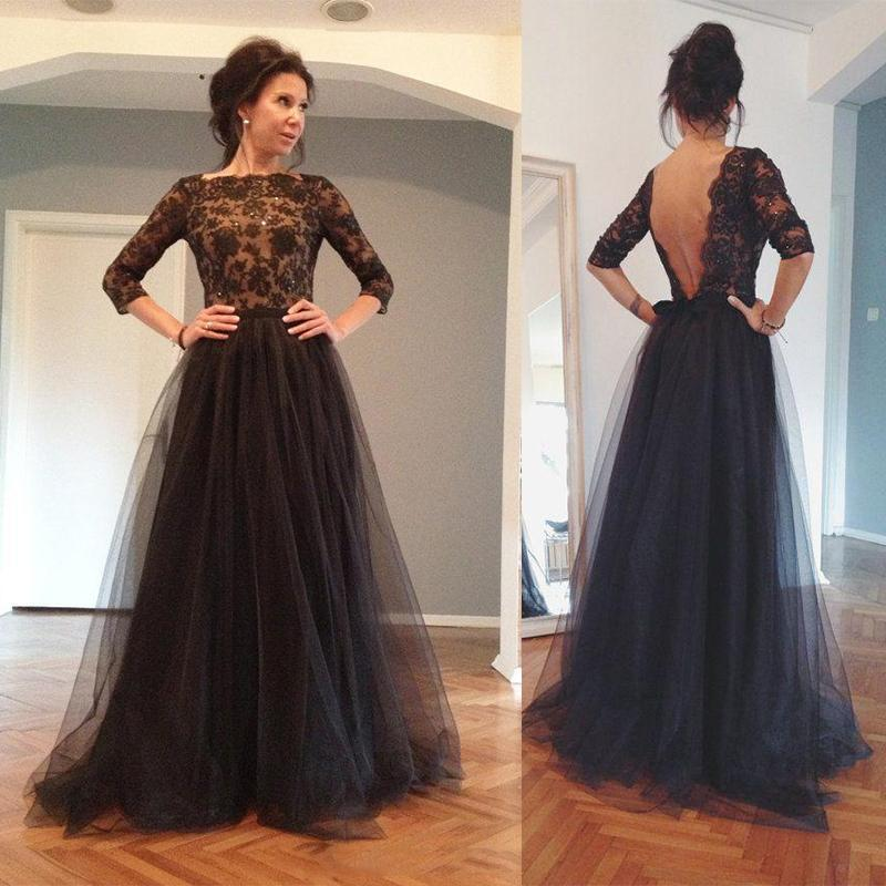 Sexy 2015 Backless Evening Gowns Illusion Sheer Sleeves Bateau ...
