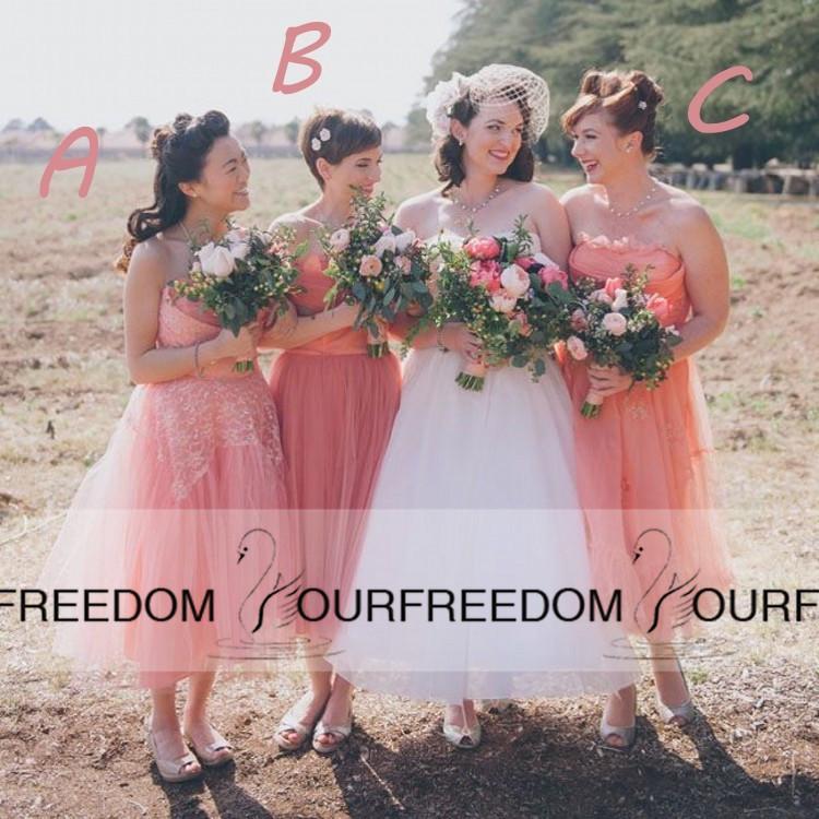 2019 estilo country cor coral vestido de dama de honra decote com um b c três estilos vestido de baile de chá vestido de comprimento de tule