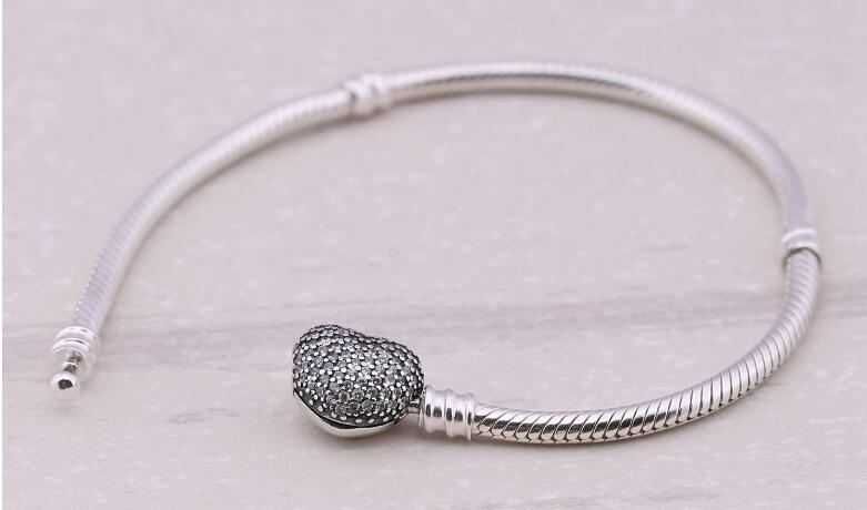 2019 Newest Valentine bracelets,Genuine 100% Authentic 925 Sterling Silver charms with Clear Cz Snake chain DIY women jewelry wholesale