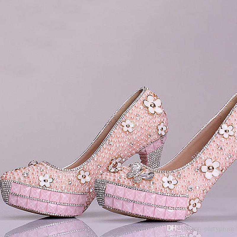 New Design Bridal Pink Pearl Rhinestone Wedding Shoes Graduation Sweetness Prom Shoes Cheap Bridesmaid Shoes