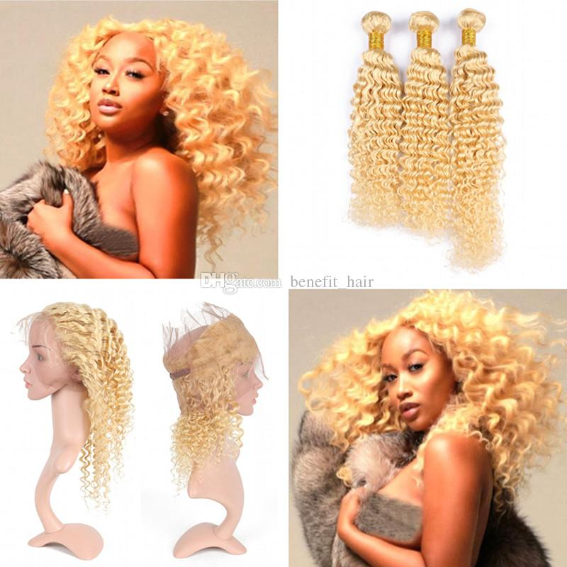 Deep Curly Pre Plucked 360 Frontal With Blonde 613 Hair 3Bundles Brasileño Cabello humano ola profunda con 360 Full Lace Frontal /
