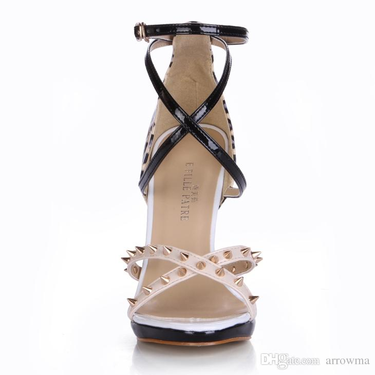Womens Sandals Cheap Modest Colorful Ladies Party SHoes With High Thin Heels Buckle Strap Rivets Sexy Plus Size Summer Lady Shoes Sandals