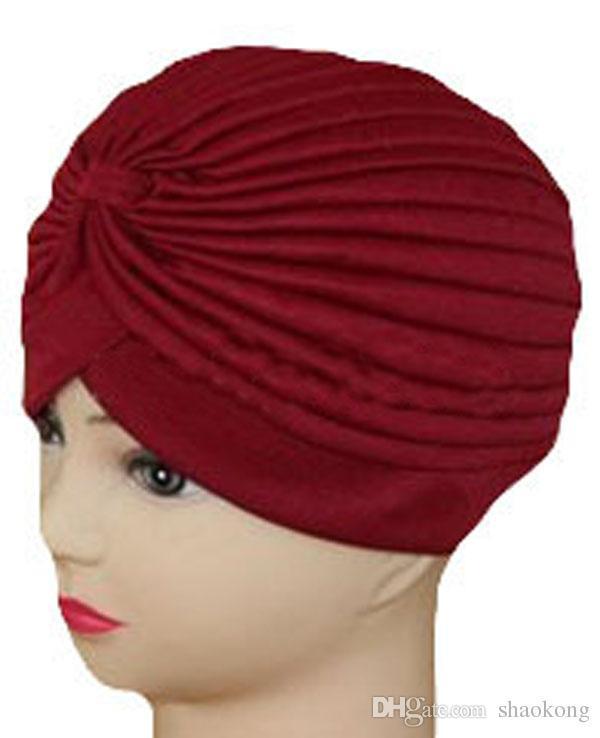 신축성있는 Turban 헤드 랩 밴드 Chemo Bandana Hijab Pleated Indian Cap