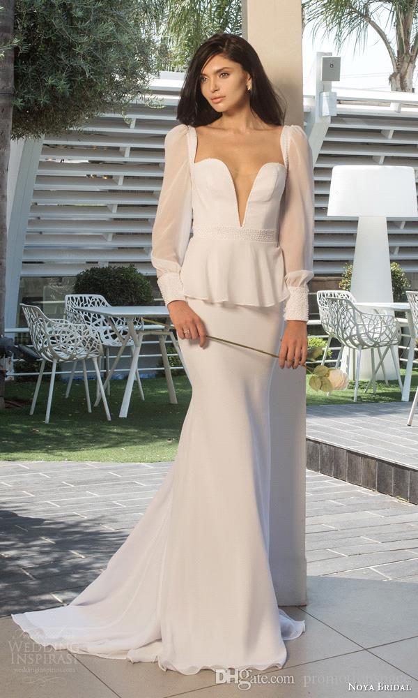2016 Vintage mangas largas vestidos de novia Profundo V cuello vaina larga vestidos de novia con Peplum puro blanco vestido de novia 2015 venta caliente