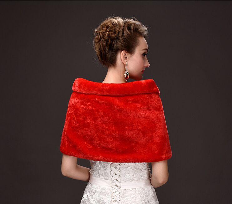 Christmas Fashion Winter Red White Bridal Wraps Faux Fur Shrug Lapel Wedding Shawl Bride Prom Party Bridal Wraps Jacket Women Bolero Jackets