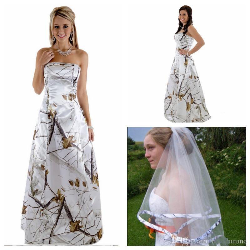 Discount Strapless A Line Camo Wedding Dress Beaded With Veil ...