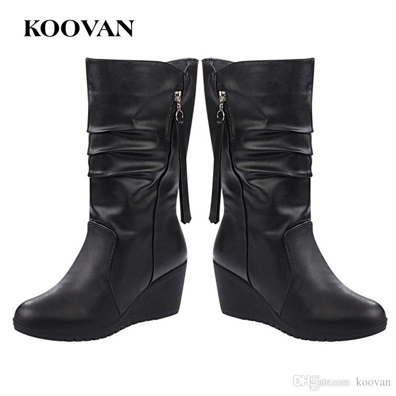 276e79813473 Koovan Ladies Women Half Boots Fashion Wedge Heel Boot 2017 New Autumn  Winter 7 Cm Chunky Heel High Quality Wholesale W527 Hiking Boots Shoes For  Women From ...