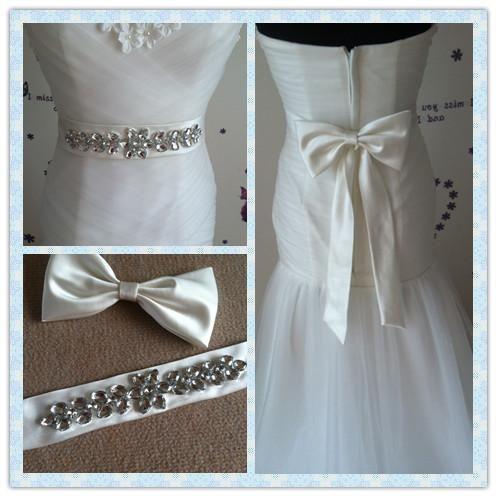 Handmade Sew Rhinestone Bridal Sash 2015 Soft Stain Wedding Belt ...