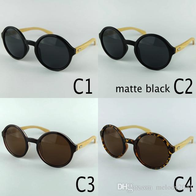 Gafas de sol redondas Vintage Gafas de sol para mujer y hombres Eyewear Marco de plástico Templos de bambú