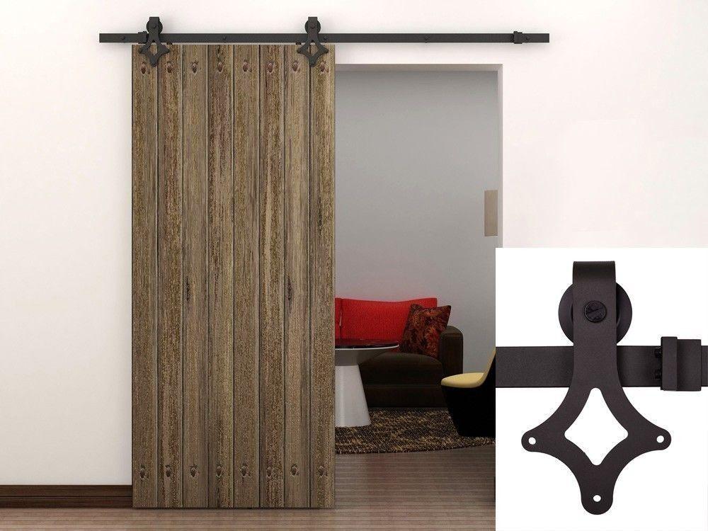 KIN MADE Wooden Barn Door Kits Sliding Door Track Home Renovation Easy DIY 4.1FT-8FT