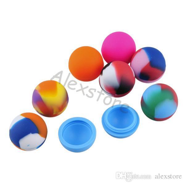 Mix Tarzı top tutucu gıda sınıfı silikon kavanozlar dab wax yağı konteyner silikon balmumu silikon kalay kuru ot 3 ml 5 ml kutu FDA DHL
