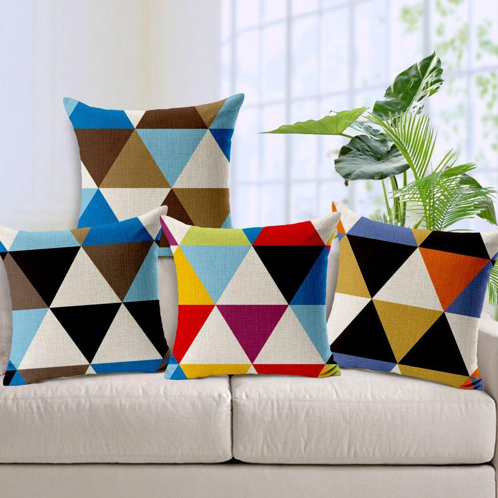 Creative Patchwork Design Fundas De Cojines Modern Abstract Pillow Cover  Car Seat Decoration Geometric Cushion Cover Outdoor Pillows On Sale Outdoor  ...
