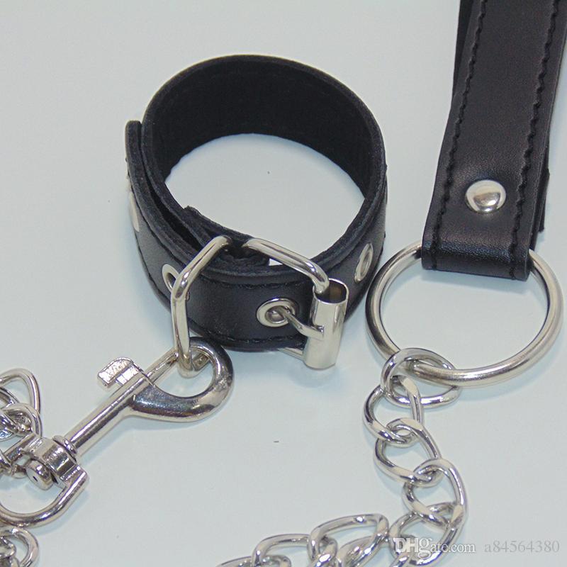 Juegos para adultos Penis Ring Chain Cock Cage With Metal Leashes Bondage Juguetes sexuales para hombres