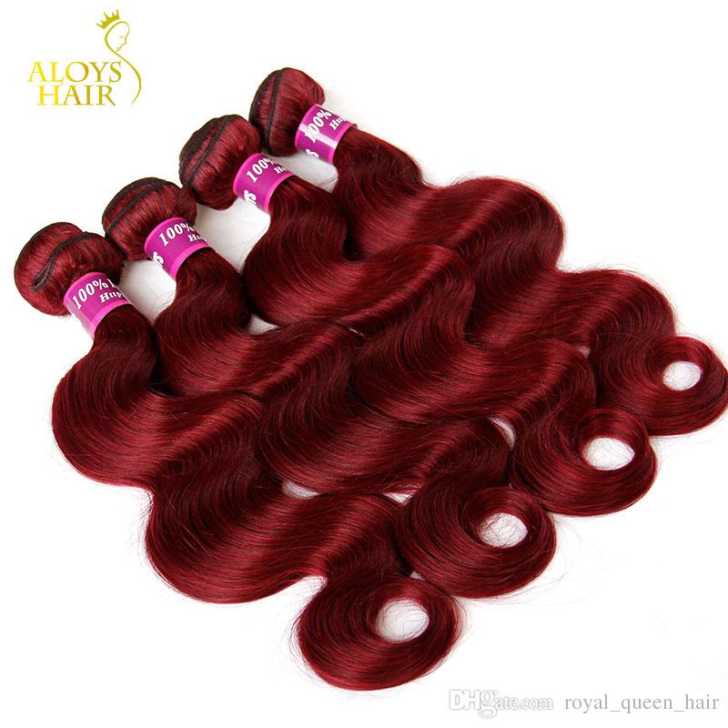 Burgundy Indian Hair Weave Bundles Grade 8A Wine Red 99J Indian Virgin Hair Body Wave 3/4 Pcs Lot Indian Mink Remy Human Hair Extensions