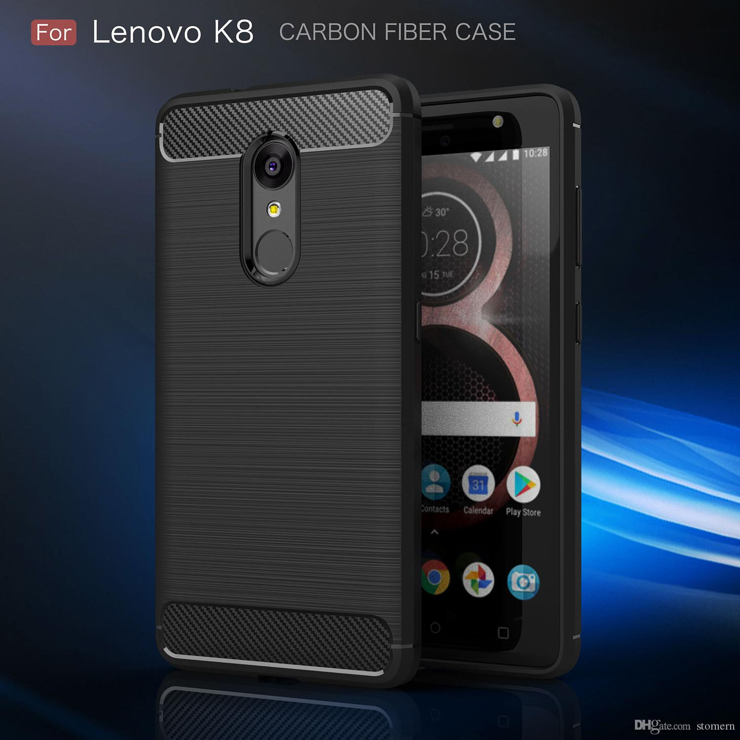 on sale 67b7a da94a Carbon Fiber Case For Lenovo K8 K8 Note Luxury Texture Brushed Silicone  Soft Rubber Back Cover Slim Armor Rugged Skin