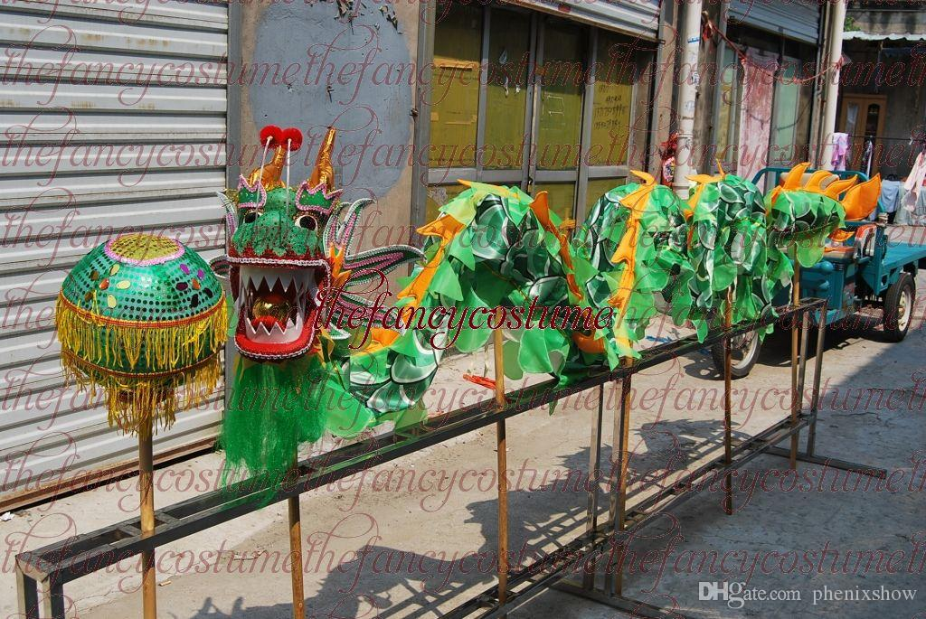 f58521046 D 5.5 M Size 6 # 6 Kid Green Silk CHINESE DRAGON DANCE Folk Festival  Celebration Costume Costumes For Groups Of 5 Halloween Themed Clothing From  Phenixshow, ...