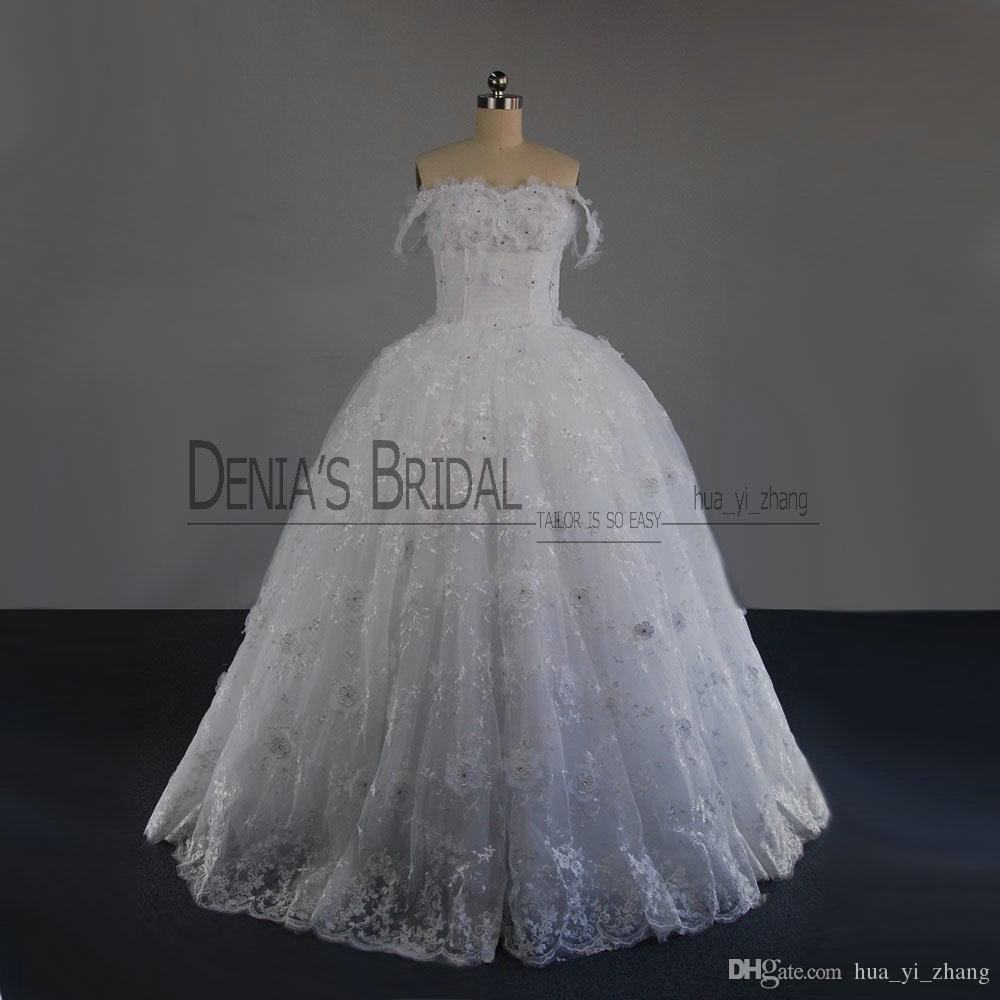 2017 милая бальное платье Свадебные платья Обнаженные плеча рукавов кружева аппликация кристаллы ручной работы цветы кружева up развертки поезд свадебные платья