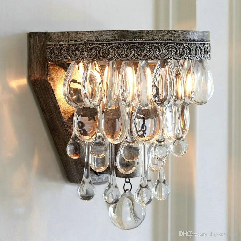 Vintage Crystal Wall Lamp Indoor Sconce Led Mirror Bed Wall Lights ...
