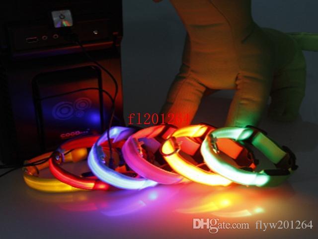 / Wholesale Sicherheits-Haustier-Hund LED blinkendes Licht USB-Aufladungsnylonkragen justierbarer S / M / L / XL DHL Fedex geben Verschiffen frei