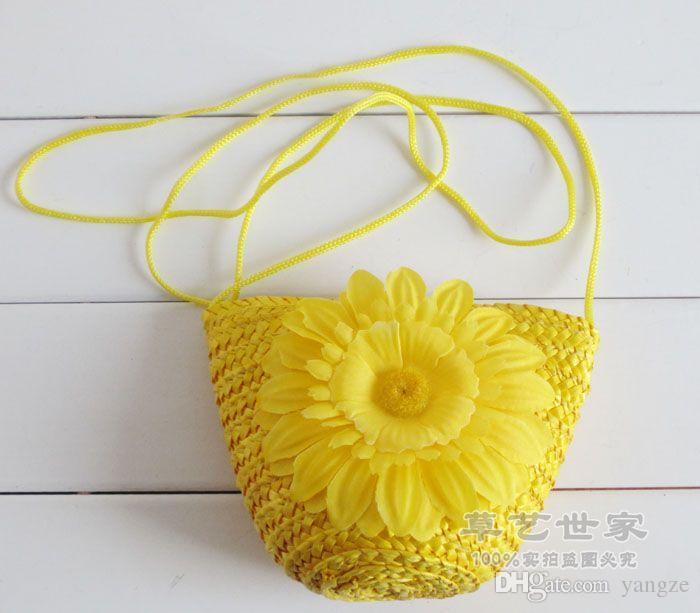 Moda Sevimli Buğday Samanı Mini Çanta Ile Fermuar Tığ Örgü Doğa Bitki Plaj Çantaları Şeker Renkler Çanta Kadın Çocuk Hediye F078