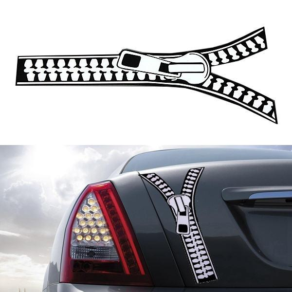Brand New Auto Motorcycle Funny Zipper Sticker Emblem Graphic - Custom motorcycle stickers funny