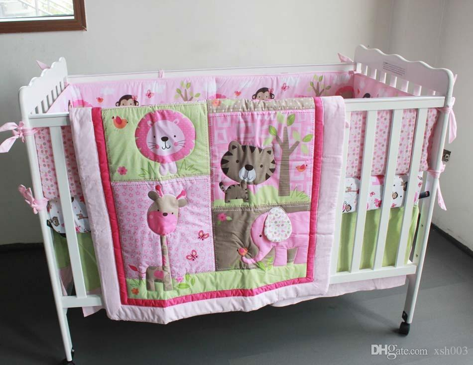 Sale! 2016 Pure cotton Baby girl crib bedding set 3D Embroidery monkey butterfly lion elephant Baby bedding set Baby Quilt Cot bedding