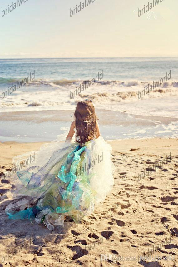 2015 симпатичные белый органза бальное платье девушки цветка платья одно плечо девушка суд поезд пляж дети свадебные платья кружева девушки вечерние платья