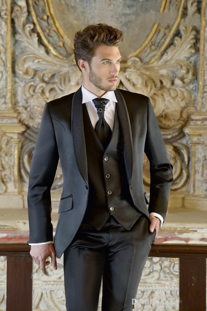 HOT -- Handsome Haut Shawl Lapel Groom Tuxedos Groomsman Men's Formal Wedding Dress Prom ClothingJacket+pants+Vest462