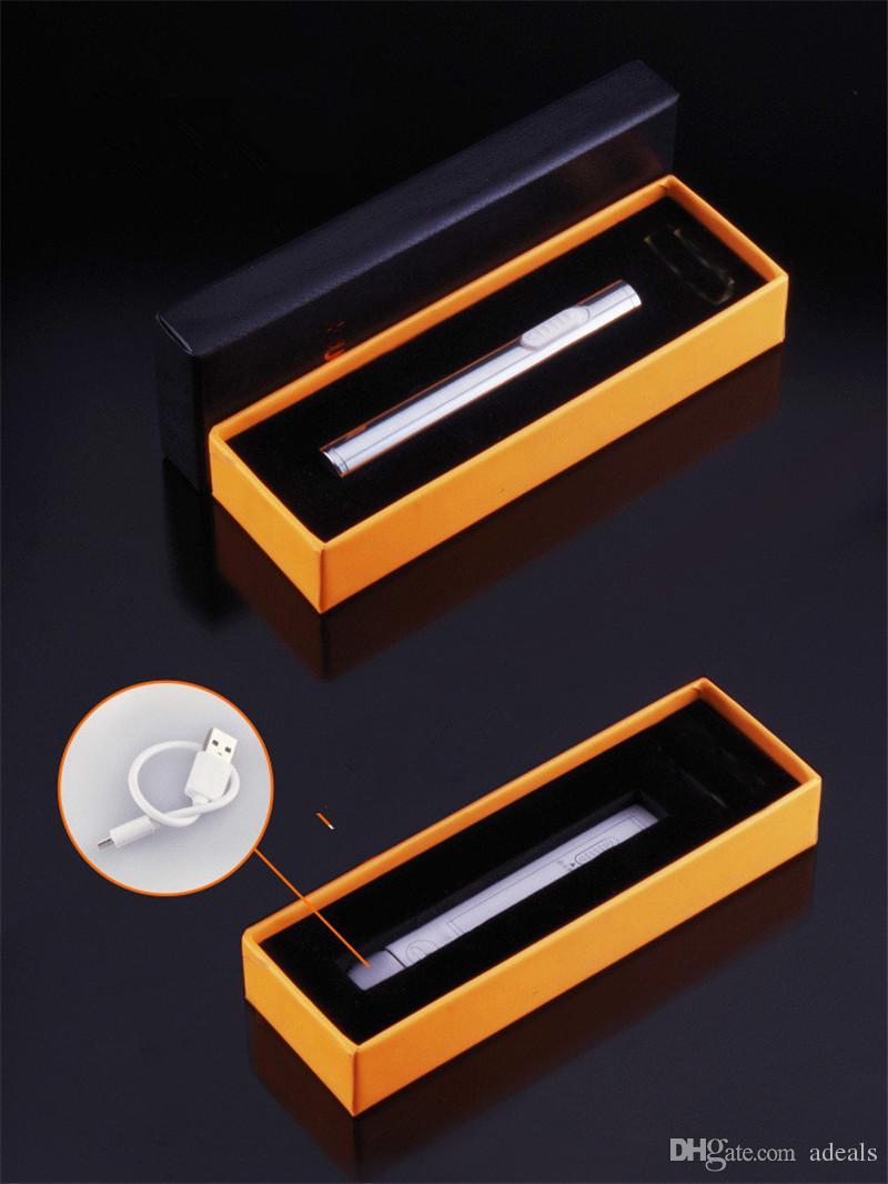 Encendedor USB Encendedor de Cigarrillos de Tabaco Recargable Electrónico Cigarro Sin Llama a prueba de viento oro antorcha tubo de metal encendedor regalo