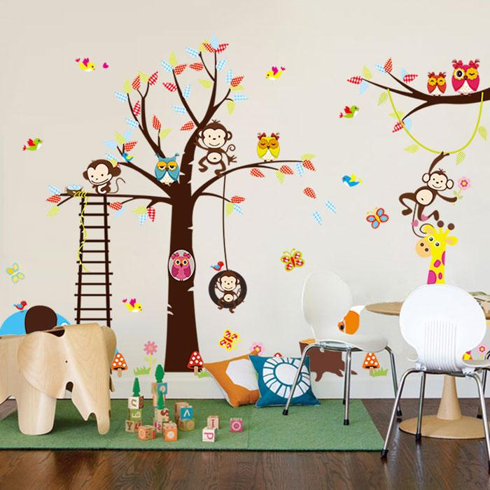 Kostenloser Versand Cartoon Großer Baum mit Lion Giraffe Elefanten Eulen  DIY Wandtattoo Kinderzimmer Zimmer Dekor Wandaufkleber