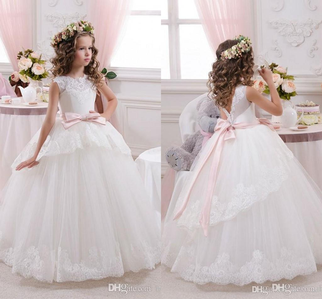 67ad584bb Cheap Lace Ball Gown Little Bridal Flower Girls Dresses For Wedding ...