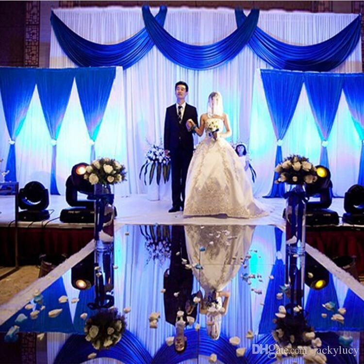 30m 1.2m Wide Wedding Ceremony Centerpieces Decoration Mirror Carpet Aisle Runner With Gold Silver Double Side