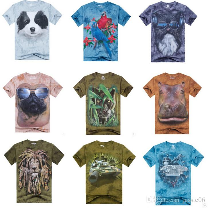 4e218112abac Men 3D Animal Print T Shirts Tees LUXURY Men'S Teens Cartoon Cotton Sport  Punk Rock Short Sleeve T Shirt Summer Beach Bandhnu Clothing EMS Cool Shirts  ...