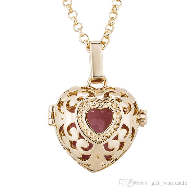Harmony Ball Pregnancy Ball in Pendants Copper Metal Angel ball in Chain Necklaces Heart Shape