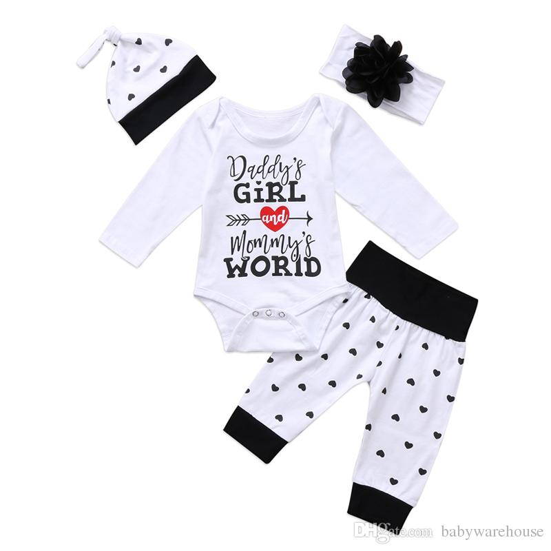 4089ec8cc9c2 2019 Newborn Baby Clothes 2018 Daddy S Girl And Mommy S World Printed Long  Sleeve Cotton Romper Pants Hat Headband Outfits Kids Clothes Set From ...