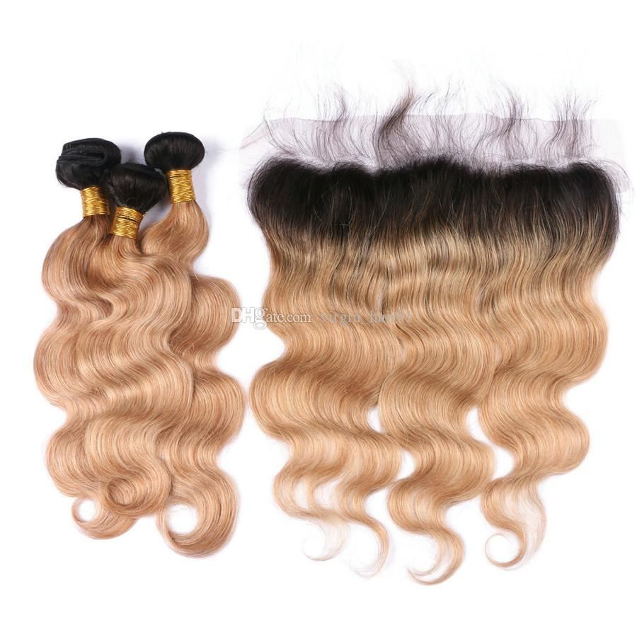 Two Tone 1B Honey Blonde Dark Roots Ombre Body Wave Russian Virgin Human Hair 3Bundles With 13x4 Full Lace Frontal Closure