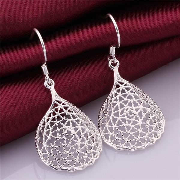 Haute qualité 925 bijoux en argent sterling partie de mode bijoux creux creux boucles d'oreilles joli cadeau de Noël livraison gratuite