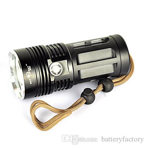 Epacket gratuita, Super Bright Skyray King 6000 lumen 4x CREE XM-L XML 4x T6 LED Torcia lampada ad alta potenza Torcia con batteria 18650 nero