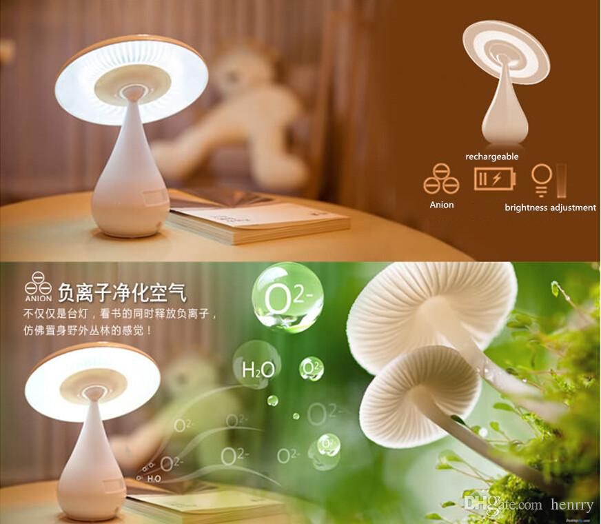 Mushrooms air purifier lamp, mushroom innovative new table lamps a bag, desk lamps bedside lamps, anion purifier Nightlight