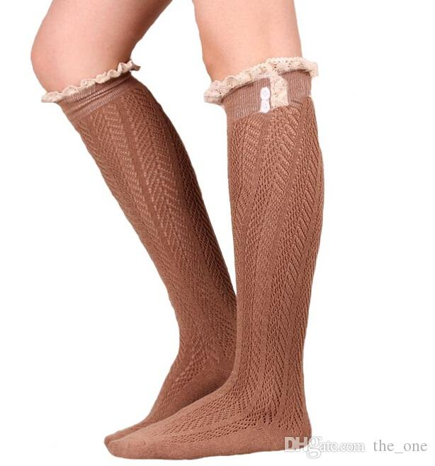 new crochet lace trim cotton knit leg warmers boot Womem Long Cotton Socks Knee High Long Socks leg warmer stocking in stock