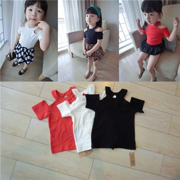 2019 Girls Off Shoulder T Shirt Children Black Red White Soft Cotton