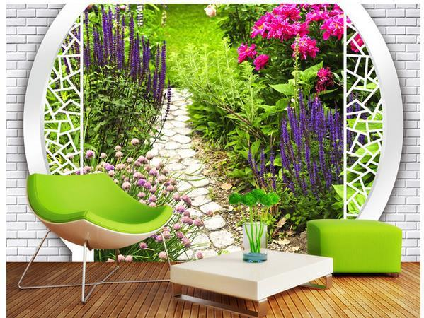 Customize Size 3d Landscape Garden Wallpaper Mural Wallpaper Non ...