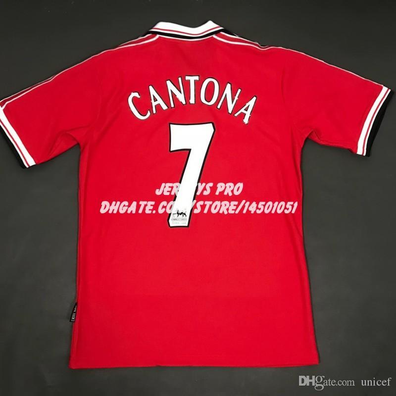 70657d4fd2a 2019 Retro Soccer Jerseys Old Trafford Camiseta Eric Cantona 1998 1999 98  99 Home Red Football Shirts Maillot De Foot Maglia Di Calcio From Unicef,  ...